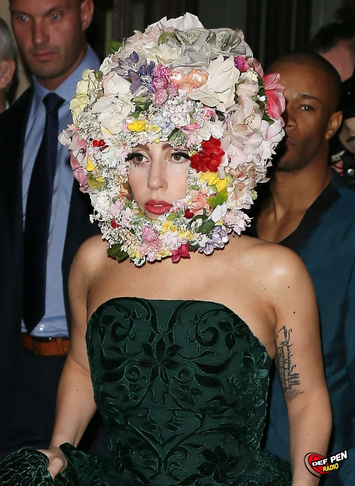 Lady Gaga Leaving Her Hotel With A Floral Hat