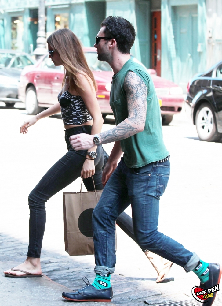 Adam Levine and Girlfriend Behati Prinsloo Arrive at Their NYC Hotel