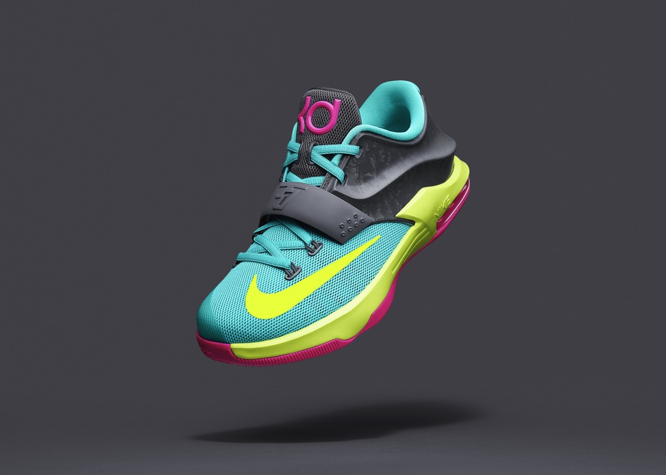innovative design 3c7c1 06ff2 ... signature shoe earlier this week – the KD7 – Nike reveals the first  exclusive colorway for young athletes. The KD7 Carnival expresses the vibrant  color ...