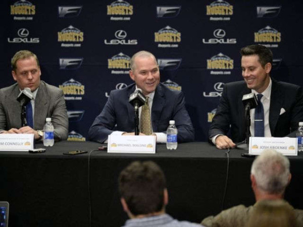 Nuggets GM Tim Connelly, New Nuggets HC Michael Malone and Nuggets owner Josh Kroenke