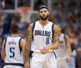 Nov 5, 2015; Dallas, TX, USA; Dallas Mavericks guard Deron Williams (8) walks back up the court during the second half against the Charlotte Hornets at the American Airlines Center. The Hornets defeat the Mavericks 108-94. Mandatory Credit: Jerome Miron-USA TODAY Sports