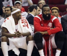 May 23, 2015; Houston, TX, USA; Houston Rockets guard Jason Terry (left) and guard James Harden (right) react during the game against the Golden State Warriors in game three of the Western Conference Finals of the NBA Playoffs at Toyota Center. Mandatory Credit: Troy Taormina-USA TODAY Sports