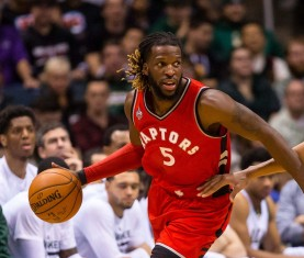 Raptors' starting small forward DeMarre Carroll was joined by Cory Joseph at a Cleveland Casino Wednesday night, accorsding to reports. (Photo: Jeff Hanisch/USA TODAY Sports).
