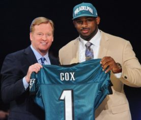 Apr 26, 2012; New York, NY, USA; NFL commissioner Roger Goodell introduces defensive tackle Fletcher Cox (Mississippi State) as the 12th overall pick by the Philadelphia Eagles in the 2012 NFL Draft at Radio City Music Hall. Mandatory Credit: James Lang-USA TODAY Sports