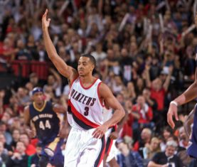 Oct 28, 2015; Portland, OR, USA; Portland Trail Blazers guard C.J. McCollum (3) reacts after making a three point basket against the New Orleans Pelicans during the fourth quarter at the Moda Center. Mandatory Credit: Craig Mitchelldyer-USA TODAY Sports