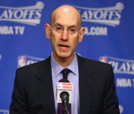 MEMPHIS, TN - APRIL 26:  Adam Silver the NBA Commissioner talks to the media before the start of the Oklahoma City Thunder game against the Memphis Grizzlies in Game 4 of the Western Conference Quarterfinals during the 2014 NBA Playoffs at FedExForum on April 26, 2014 in Memphis, Tennessee. NOTE TO USER: User expressly acknowledges and agrees that, by downloading and or using this photograph, User is consenting to the terms and conditions of the Getty Images License Agreement.  (Photo by Andy Lyons/Getty Images)
