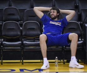 Jun 3, 2015; Oakland, CA, USA; Golden State Warriors center Andrew Bogut (12) sits on the bench during practice prior to the NBA Finals at Oracle Arena. Mandatory Credit: Kyle Terada-USA TODAY Sports