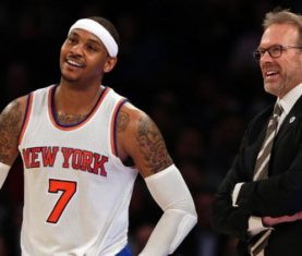 Carmelo Anthony and Kurt Rambis