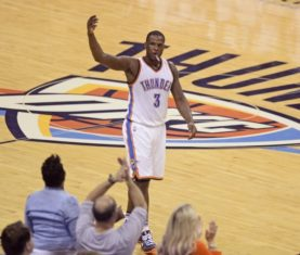 May 22, 2016; Oklahoma City, OK, USA; Oklahoma City Thunder guard Dion Waiters (3) reacts with fans during the second quarter against the Golden State Warriors in game three of the Western conference finals of the NBA Playoffs at Chesapeake Energy Arena. Mandatory Credit: Mark D. Smith-USA TODAY Sports
