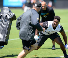 Jacksonville Jaguars rookie linebacker Myles Jack (44) during a rookie orientation practice session Friday, May 6, 2016 in Jacksonville, Florida. (AP Photo/Rick Wilson)