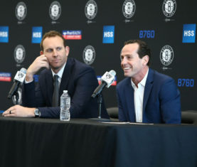 Nets general manager Sean Marks and head coach Kenny Atkinson.(Getty Images)