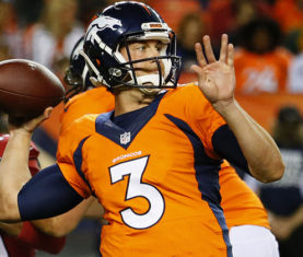 Denver Broncos quarterback Trevor Siemian (3) throws against the Arizona Cardinals during the second half of an NFL preseason football game, Thursday, Sept. 3, 2015, in Denver. (AP Photo/Jack Dempsey)