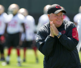 Jun 8, 2016; Santa Clara, CA, USA; San Francisco 49ers head coach Chip Kelly smiles during minicamp at the San Francisco 49ers Practice Facility. Mandatory Credit: Kelley L Cox-USA TODAY Sports