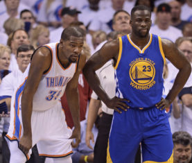 May 24, 2016; Oklahoma City, OK, USA; Golden State Warriors forward Draymond Green (23) and Oklahoma City Thunder forward Kevin Durant (35) react during the first quarter in game four of the Western conference finals of the NBA Playoffs at Chesapeake Energy Arena. Mandatory Credit: Mark D. Smith-USA TODAY Sports