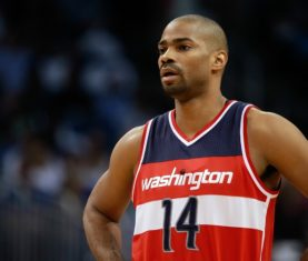 Oct 28, 2015; Orlando, FL, USA;Washington Wizards guard Gary Neal (14) against the Orlando Magic during the first quarter at Amway Center. Mandatory Credit: Kim Klement-USA TODAY Sports