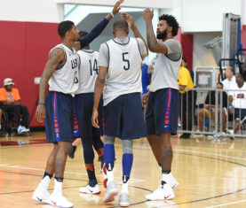 Paul George, Kevin Durant & DeAndre Jordan (Photo by Nathaniel S. Butler/NBAE via Getty Images)