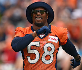 ENGLEWOOD, CO - AUGUST 03: Denver Broncos outside linebacker Von Miller (58) takes the day off from practice on day 4 of training camp August 3, 2015 at Dove Valley. (Photo By John Leyba/The Denver Post)