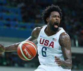 Aug 14, 2016; Rio de Janeiro, Brazil; United States center DeAndre Jordan (6) reacts after during the ball against France during the men's preliminary round in the Rio 2016 Summer Olympic Games at Carioca Arena 1. Jeff Swinger-USA TODAY Sports