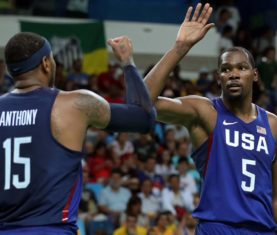 Carmelo Anthony and Kevin Durant (Photo by Elsa/Getty Images)