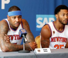 Carmelo Anthony and Derrick Rose (Andy Marlin/USA TODAY Sports)