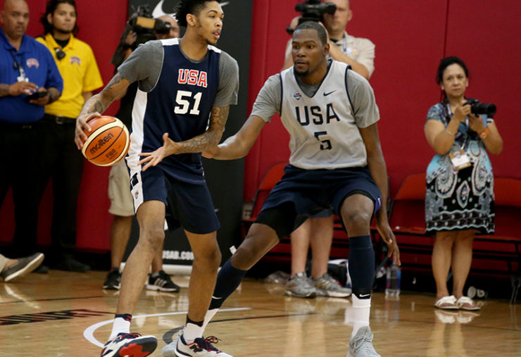 LAS VEGAS, NV - JULY 20: Brandon Ingram #51 of the USA Basketball Men's Select Team handles the basketball against Kevin Durant #5 of the USA Basketball Men's National Team during practice on July 20, 2016 at Mendenhall Center on the University of Nevada, Las Vegas campus in Las Vegas, Nevada. NOTE TO USER: User expressly acknowledges and agrees that, by downloading and or using this photograph, User is consenting to the terms and conditions of the Getty Images License Agreement. Mandatory Copyright Notice: Copyright 2016 NBAE (Photo by Nathaniel S. Butler/NBAE via Getty Images)
