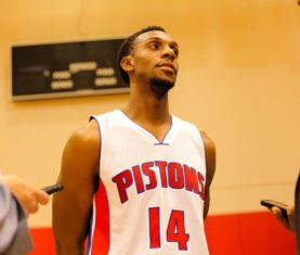 Ish Smith speaks to the media (Pistons Photos)
