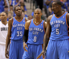 Kevin Durant, Russell Westbrook, Kendrick Perkins (Photo by Bryan Terry, The Oklahoman)