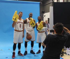 Kevin Love, LeBron James, Kyrie Irving (Photo via Cavs.com)