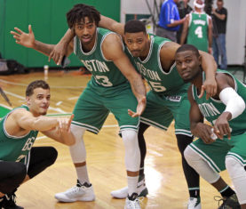 R.J. Hunter, James Young, Jordan Mickey, Ben Bentil (Matt Stone / Boston Herald)