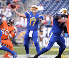 Oct 13, 2016; San Diego, CA, USA; San Diego Chargers quarterback Philip Rivers (17) throws a pass during the first quarter of the game against the Denver Broncos at Qualcomm Stadium. Mandatory Credit: Orlando Ramirez-USA TODAY Sports ORG XMIT: USATSI-268378 ORIG FILE ID:  20161013_pjc_rb5_068.JPG