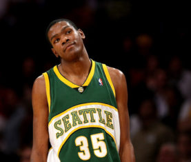 Kevin Durant with the SuperSonics. (Stephen Dunn/Getty  Images Sport)