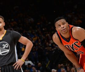 Stephen Curry and Russell Westbrook (Noah Graham / Getty Images)