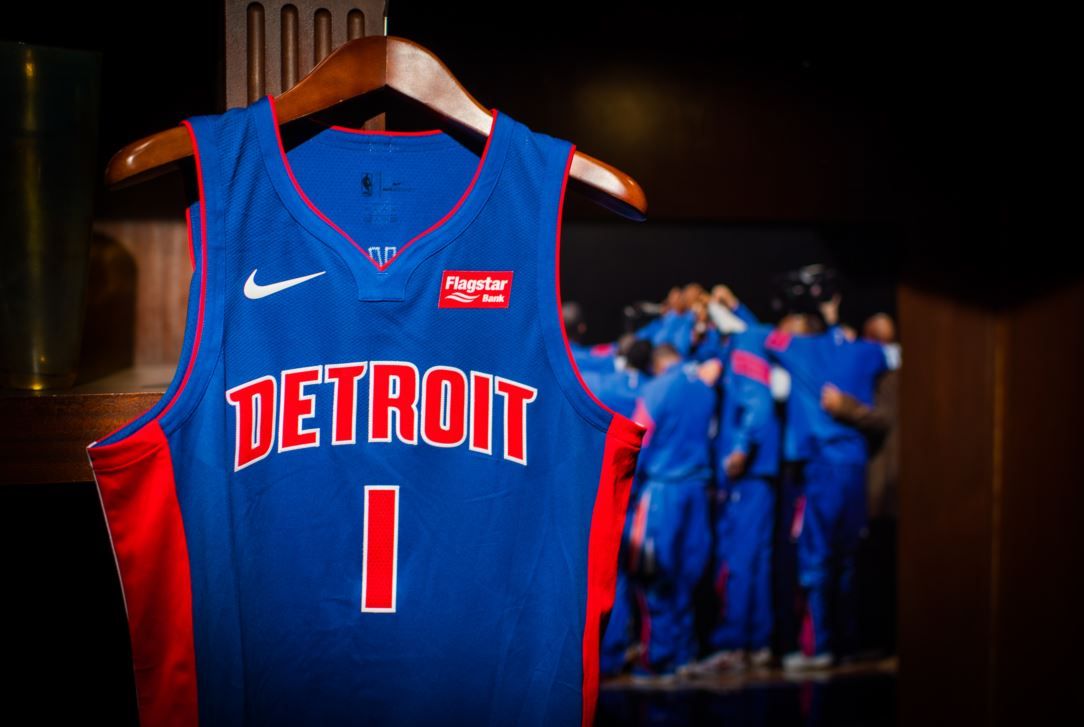 4c9407a68 Detroit Pistons Nike jerseys with  Flagstar Bank  logo. (Photo  Detroit  Pistons)