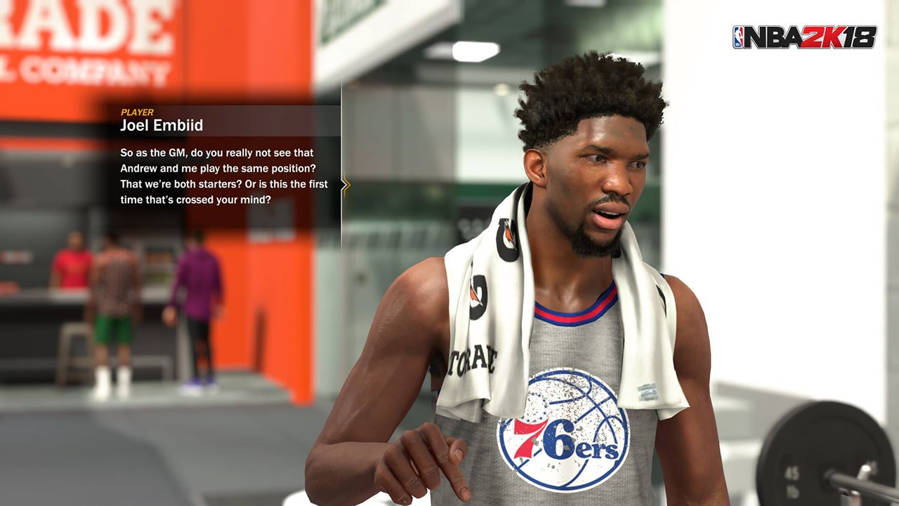 50e193a742d6 Joel Embiid talking to the GM in NBA 2k18 (screenshot via NBA 2k)